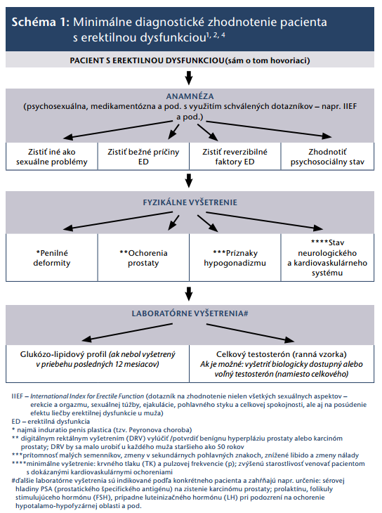 Minimálne diagnostické zhodnotenie pacienta s erektilnou dysfunkciou.