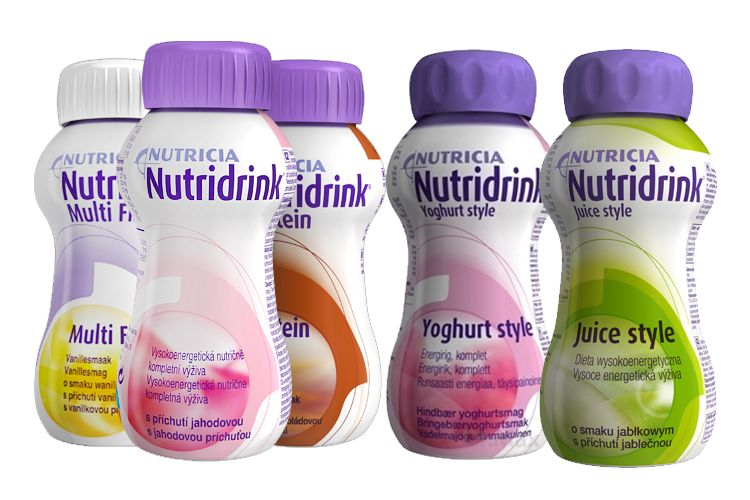 Produkty Nutridrink Multifibre, Yoghurt, Juice Style a Compact Protein