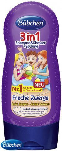Bübchen Kids sprchovací gél, šampón a ošetrujúci balzam na vlasy 3v1 Malí šibali 230ml