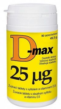 D-max 25 µg žuvacie tablety 90 ks