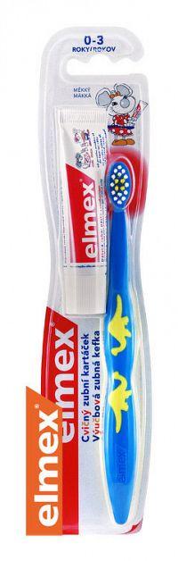 Elmex Výučbová zubná kefka 0- 3 roky+zubná pasta 12 ml