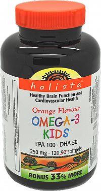 Holista OMEGA-3 pre deti 250mg 120 softgel kapsúl s pomarančovou príchuťou