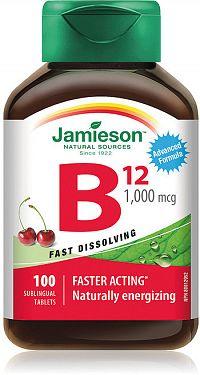 Jamieson Vitamín B12 1000μg rýchlorozpustné tablety s príchuťou čerešne 100tbl