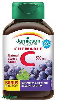 Jamieson Vitamín C 500 mg tablety na cmúľanie s príchuťou hrozna 120 tbl.
