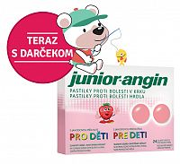 Junior-angin pastilky pre deti s jahodovou príchuťou 24 ks + darček detské tetovanie