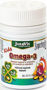 JutaVit Omega-3 Kids žuvacie kapsuly s príchuťou pomaranča 45 ks