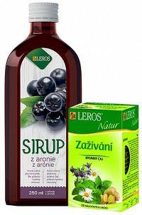 LEROS SIRUP z arónie + Natur Zažívanie sirup 250 ml + čaj vrecúška 20x1 5 g 1x1 set