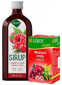 LEROS SIRUP zo šípok a malín + Natur Močové cesty sirup 250 ml + čaj vrecúška 20x1 5 g 1x1 set