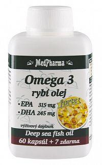 MedPharma Omega 3 Rybí olej Forte EPA + DHA 60+7 tabliet