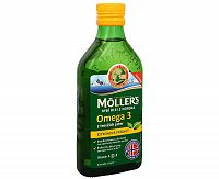 MOLLER´S Omega 3 RYBÍ OLEJ Citrónová príchuť z pečene tresiek 250 ml