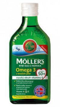 Mollers Omega 3 RYBÍ OLEJ dospelí 50+ Citrónová príchuť 250ml