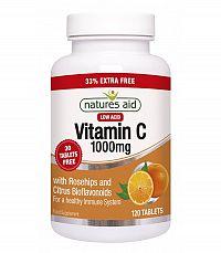 Natures Aid Vitamin C Nekyslý so šípkami 90+30 tabliet