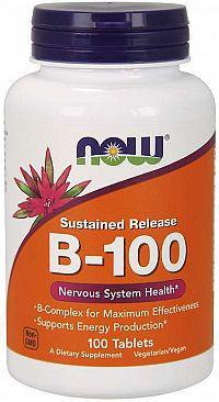 Now Foods B 100 FORTE s postupným uvoľňovaním 100 tabliet