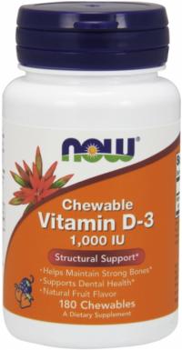 Now Foods Vitamín D3 1000 IU ovocné žuvacie tablety 180ks