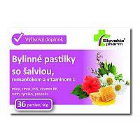 Slovakiapharm Bylinné pastilky so šalviou rumančekom a vitamínom C 36 kusov
