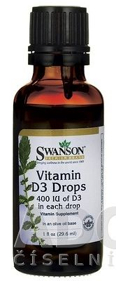 SWANSON Vitamín D3 400 IU kvapky na báze olivového oleja 29,6 ml
