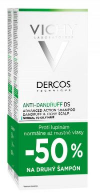 VICHY DERCOS ANTI-DANDRUFF DS DUO 2018 šampón proti lupinám normálne až mastné vlasy 2x200 ml 1x1 se
