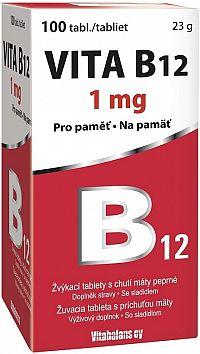 Vitabalans VITA B12 1 mg žuvacie tablety s príchuťou mäty 100 ks