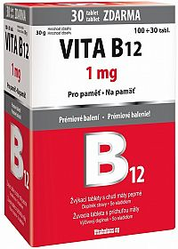 Vitabalans VITA B12 1mg žuvacie tablety s príchuťou mäty 100+30 zdarma