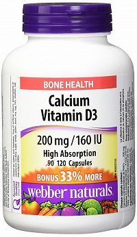 Webber Naturals Calcium + D3 200 mg/160 IU Citrát vysoká vstrebateľnosť 90 +30tbl