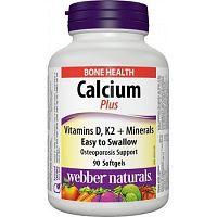 Webber Naturals Calcium Plus K2, D3 a minerály 90gel