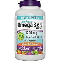 Webber Naturals Omega 3-6-9 1200 mg FORTE cps 1x150 ks