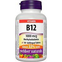 Webber Naturals Vitamín B12 1000 mcg pod jazyk Methylcobal. 60 +20tbl