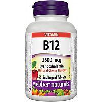 Webber Naturals Vitamín B12 2500 mcg pod jazyk, višňa 60tbl