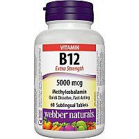 Webber Naturals Vitamín B12 5000 mcg pod jazyk Methylcobal. 60tbl