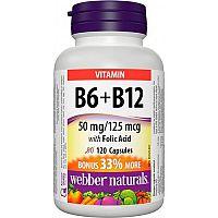 Webber Naturals Vitamín B6+B12+Folic Acid 120tbl