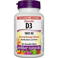 Webber Naturals Vitamín D3 1000 IU cmúľacie tablety 180tbl