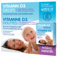 Webber Naturals Vitamín D3 400 IU kvapky pre bábätká | 1000 dávok 2x 15ml