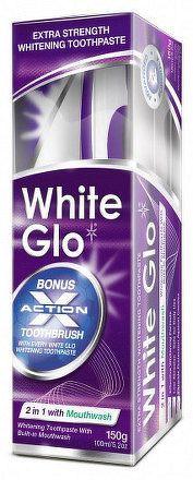 White Glo Zubná pasta 2v1 150g + kefka a medzizubná kefka ZDARMA