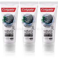 Colgate Natural Extracts Charcoal + White bieliaca zubná pasta s aktívnym uhlím 3 x 75 ml