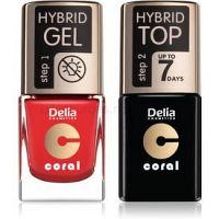 Delia Cosmetics Coral Nail Enamel Hybrid Gel kozmetická sada na nechty pre ženy odstín 01
