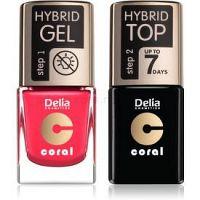 Delia Cosmetics Coral Nail Enamel Hybrid Gel kozmetická sada na nechty pre ženy odstín 03