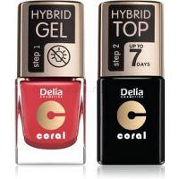 Delia Cosmetics Coral Nail Enamel Hybrid Gel kozmetická sada na nechty pre ženy odstín 18