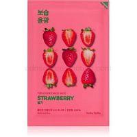 Holika Holika Pure Essence Strawberry rozjasňujúca plátienková maska pre jednotný tón pleti 20 ml