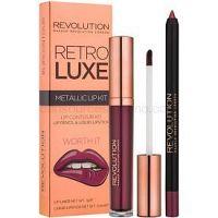 Makeup Revolution Retro Luxe metalická sada na pery odtieň Worth It 5,5 ml