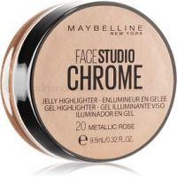 Maybelline Face Studio Chrome Jelly Highlighter gélový rozjasňovač odtieň 20 Metallic Rose 9,5 ml