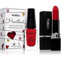 NOBEA Heartbeat sada lak na nechty a hydratačný rúž Festive Red odtieň