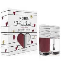 NOBEA Heartbeat sada lak na nechty a top coat odtieň Juicy Cherry 2 x 6 ml