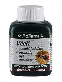 MedPharma Včelí mateří kašička + propolis + pyl 60 tbl. + 7 tbl. ZDARMA