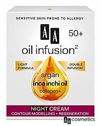 AA Oil Infusion Nočný regeneračný a spevňujúci krém 50+ 50 ml