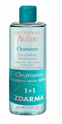 AVENE CLEANANCE EAU MICELLAIRE (DUO) micelárna voda pre mastnú a aknóznu pleť (1+1 ) 2x400 ml, 1x1 set