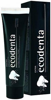 ECODENTA Extra Black bieliaca zubná pasta s čiernym uhlím a Teavigo 1x100ml