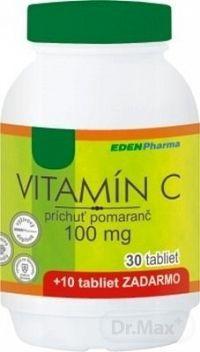 EDENPharma VITAMÍN C 100 mg príchuť pomaranč tbl 30+10 (40 ks)