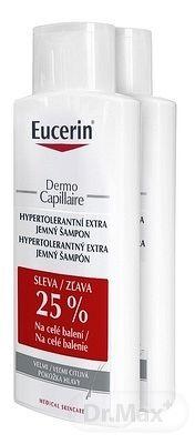 Eucerin DermoCapillaire Hypertolerantný šampón - Balenie 1+1 - zľava 25% na celé balenie extra jemny, citlivá pokožka (duo, zľava 25%) 2x250 ml, 1x1 set