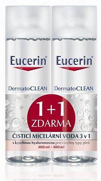 EUCERIN Micelárna voda DermatoCLEAN 3v1, 1+1 zaradmo 2x400 ml
