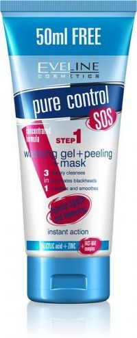 EVELINE Pure Control 3v1 gél + peeling + maska 200 ml
